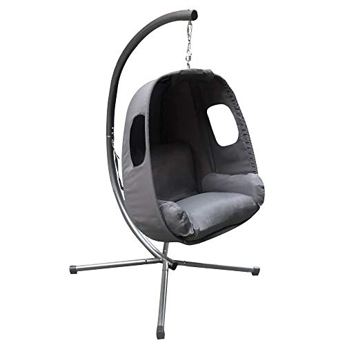 idooka – Hanging Egg Chair in Grey – Relaxing Cocoon Seat with Stand – Indoor/Outdoor Swing Seat for Garden, Bedroom, Patio or Deck – Comfortable Washable Grey Cushions – Easy Assemble – up to 150kg