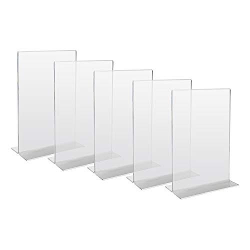 HMF 46922 Acryl Tischaufsteller gerade | 5 Stück | DIN A4 Hochformat | Glasklar