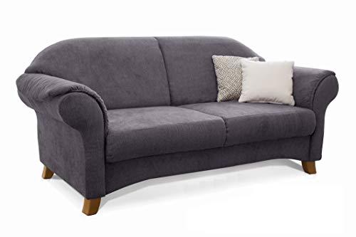 Cavadore 3-Sitzer Sofa Maifayr mit Federkern / Moderne 3-sitzige Couch im Landhausstil mit Holzfüßen / 194 x 90 x 90 / grau