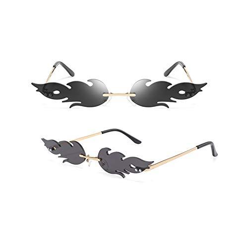 GYMO 2 Pares de Gafas de Sol sin Montura de Llama, Marco de Metal Dorado con Lunares Retro Adecuado para la Fiesta de Halloween,Negro