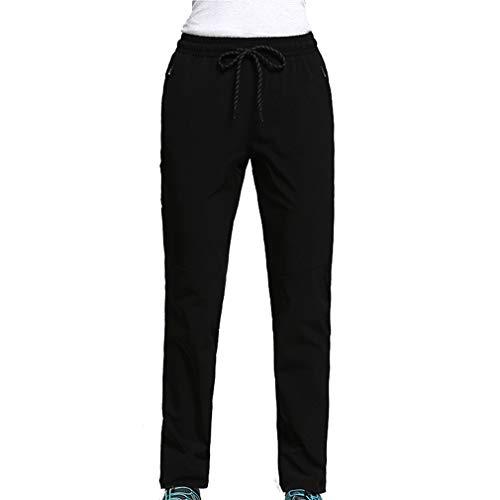 CIKRILAN Femmes Longues Outdoor Quick Dry Anti-UV Élastique Stretch Pantalon Dames Léger Respirant Sports Trousers Voyage Camping Randonnée Pantalon (XXX-Large, Noir)