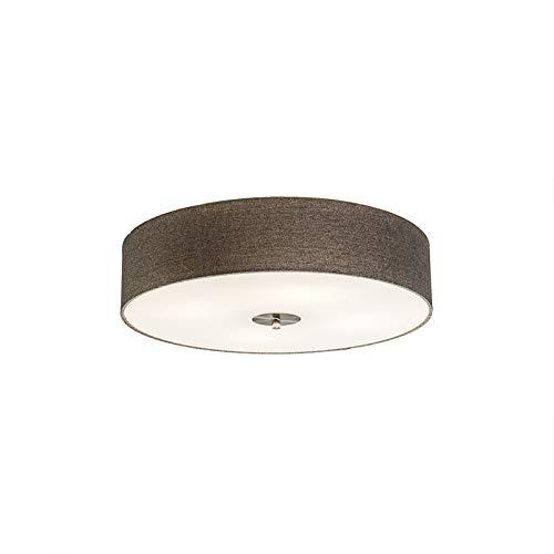 QAZQA Modern Landelijke plafondlamp taupe 50 cm - Drum Jute Glas/Stof/Staal Rond Geschikt voor LED Max. 4 x 40 Watt