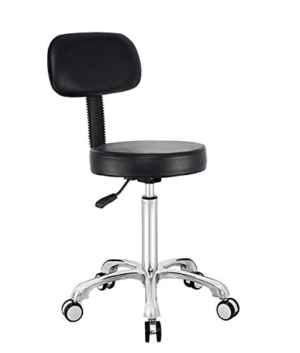 Antlu Rolling Adjustable Stool Drafting Chair for Office Shop Kitchen Medical Salon, Rolling Stool with Wheels and Back (Black)