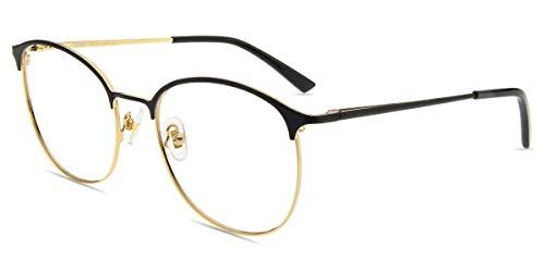Firmoo Blauichtfilter Brille Herren Entspiegelt, Blaulicht Brille ohne Sehstärke Damen gegen Kopfschmerzen Augenmüdigkeit, UV Schutzbrille für Bildschirme, Metall Brille Schwarz