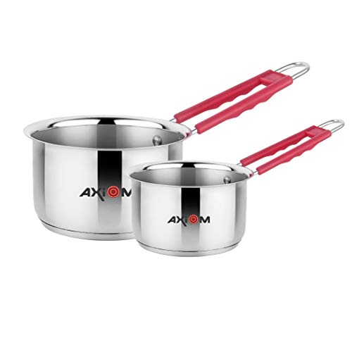 AXIOM Stainless Steel Set of 2 Saucepan with Induction Encapsulated Bottom & Stay-Cool Extra Soft Silicone Handle (Saucepan 1200 ml/ 15cm & 2100 ml/18cm)