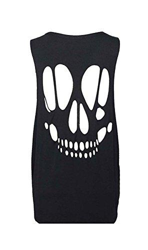 Islander Fashions Womens Skull Zur�ck Laser Cut Out Shirt Damen �rmellos Party Wear Weste Top Schwarz Klein/Mittel