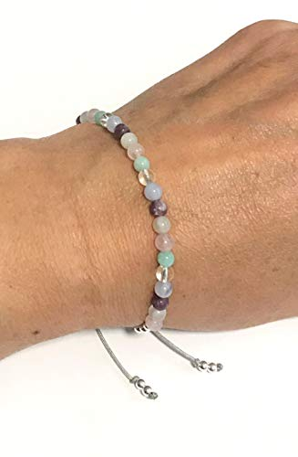 Karma Gems Calming Stress Anxiety Relief Amazonite Lepidolite Blue Lace Moonstone & Rose Quartz Balance Reki Bracelet - Adjustable