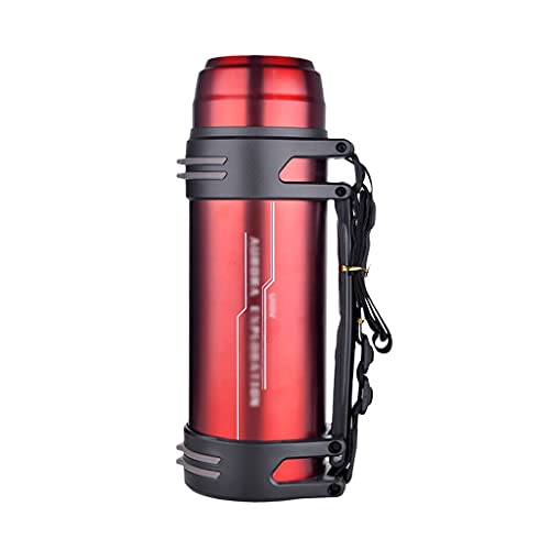 Termo de agua de acero inoxidable con aislamiento al vacío Botella de agua grande de 2200 ml / 70 oz para senderismo, pesca, camping botella (color rojo)