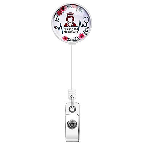 Nurse Retractable Badge Reel, Artscope Bling Crystal Badge Reel Clip, Badge Holder with 360° Swivel Alligator Clip (Flowers and Nurses)