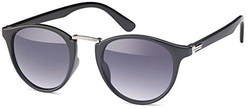 FEINZWIRN Vintage Sonnenbrille in runder Form und cateye Look (schwarz-Verlauf)