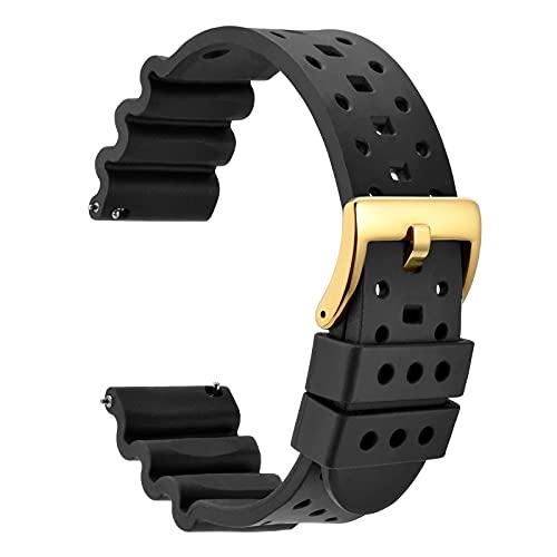 WOCCI 22mm Ventilado Correa de Reloj para Hombres, Silicona de Caucho Fluorado, Hebilla Dorada Pulida (Negro)