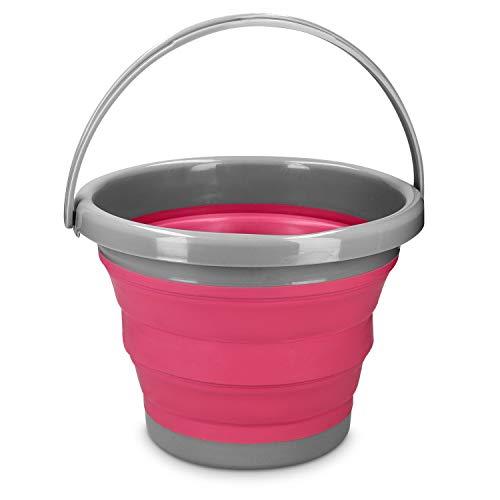 Navaris Falteimer Silikon Eimer faltbar - 5l Putzeimer Silikoneimer für Reinigung Camping Angeln Küche - 5 Liter Haushaltseimer in Berry