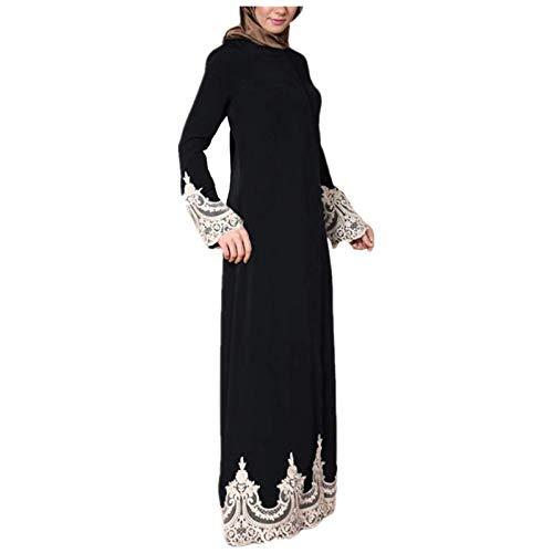 FOTBIMK Robe De Couture En Dentelle De Couleur Unie Pour Femmes Robe Musulmane à Manches Longues Robe De Culte Islamique Robe Festival De Gurban(Noir,Small)