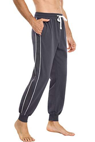 Sykooria Pantaloni Tuta Uomo Completa Cotone Tuta Uomo con Tasche Laterali Pantaloni Casual con Elastico e Coulisse Autunno e Inverno Sportivi Jogging Fitness Yoga - Grigio L