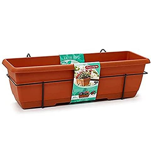 Plastic Forte - Jardinera para balcón con Plato y Soporte de metálico, 60 x 28 x 19.5 cm Macetero de plástico para Colgar, 12 L con Plato Integrado para Agua (60 cm Marrón)