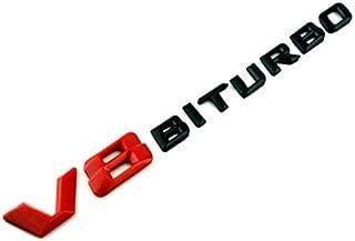 Gloss Red & Black V8 Biturbo Side Wing Fender Badge Emblem For AMG C63, E63, S63, GLC63, G63, CLS63, M63, GL63, E43, GLE43, C43, SL63 Models Size 195mm x 20mm