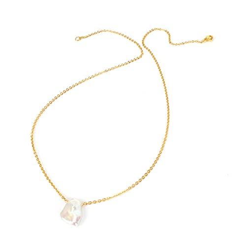 Collar de collar con colgante de perlas únicas para mujer