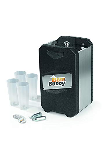 Beer Buddy Version 2.0 aktuellste Version. Bottoms Up-Bierzapfanlage ohne Strom für alle handelsüblichen 5 Liter Fässer-inkl. Zubehör u. Becher, Edelstahl 5 liters, Silber Schwarz