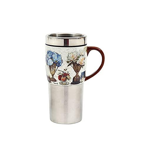 Taza de café de té Taza de viaje de acero inoxidable Taza 15.2oz Cerámica Taza de café Taza de coche Taza de oficina con tapa de cerámica El mejor compañero para viajes familiares Taza de té