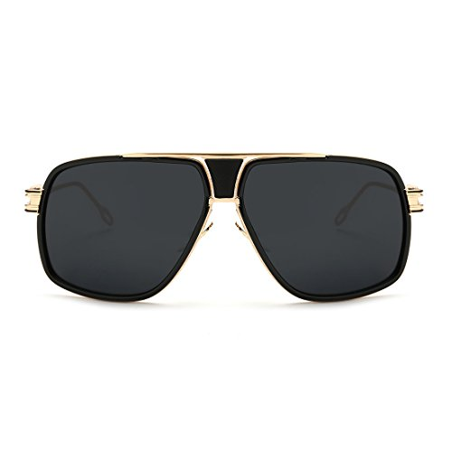 AEVOGUE Aviator Sunglasses For Men Goggle Alloy Frame Brand Designer AE0336 (Gold&Black, 62)