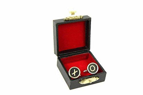 Miniblings X + O Manschettenknöpfe Vintage Schreibmaschinentaste Tic Tac Toe swz