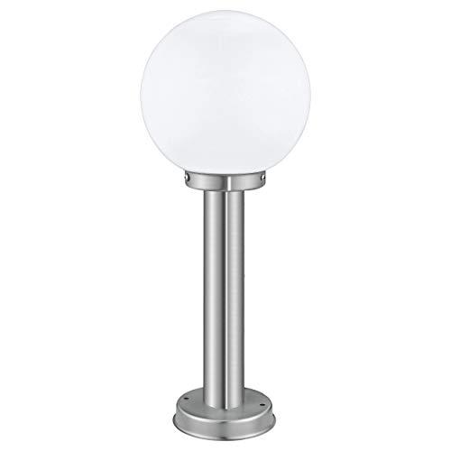 EGLO Außen-Wegelampe Nisia, 1 flammige Außenleuchte, Stehleuchte aus Edelstahl und Glas, Farbe: Silber, weiß, Fassung: E27, IP44