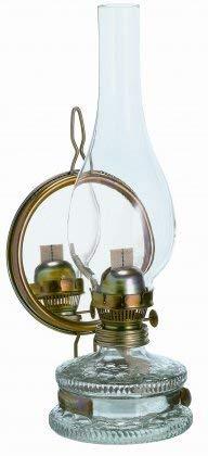 Oberstdorfer Glashütte Grosse Oellampe mit Spiegel antikes Design Tischlampe Wandlampe Gartenlampe Petroleumlampen Höhe ca. 35,5 cm