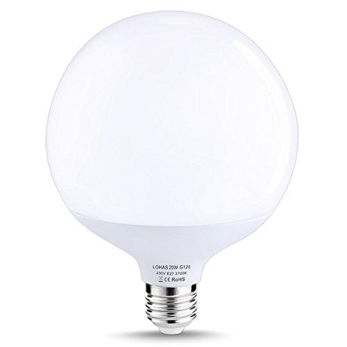 LOHAS 20W E27 LED Lampe, Warmweiß 2700K, 1800lm, Ersatz für 200W Halogenlampen, G120 LED Schraube Glühbirne, Nicht Dimmbar, LED Globus Leuchtmittel, LED birne, LED Leuchtmittel, 1er Pack
