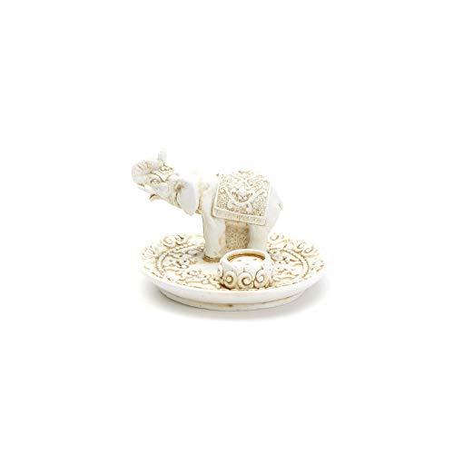 aqasha® Räucher-Stäbchen-Halter | Elefant | Rüssel nach Oben bedeutet Glück | Incense-Burner | Resin 15 cm x 7 cm x 7 cm