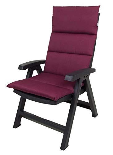 Spetebo Polster Auflage für Hochlehner - Sitzkissen in Bordeaux - Gartenstuhlauflage Stuhlkissen