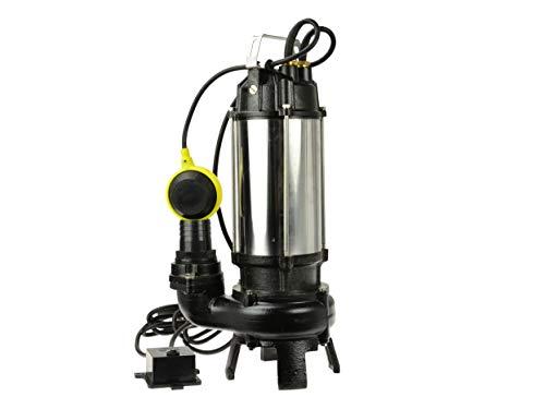 Bomba de Aguas Sucias - Bomba Sumergible con Trituradora y Flotador, Cuerpo en Níquel/Hierro Fundido - Bomba de Inmersión para Aguas Residuales - 1500W, 23 000L/h, Altura de Impulsiòn máx. 17,5m