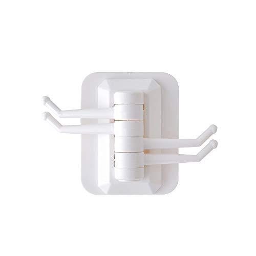 FHFF Kleefhaken, 1 stuk, duurzaam, klevend, zonder naadloze oplossing, duurzaam, draaibare haken, voor badkamer, keuken, woonkamer, wit