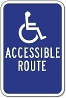 レトロなアルミメタルサイン、車椅子でアクセス可能なルートガイドサイン-矢印なしパークサインパークガイド警告サイン私有地の金属屋外危険サイン
