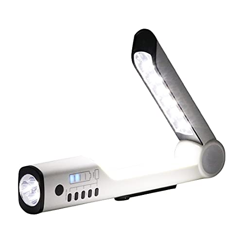 チャージングデスクライト 懐中電灯 スタンドライト スマホ充電 USB充電ポート AM/FMラジオ 救難信号 スタンド 自立 手回し ソーラー充電 ダイナモ ソーラー
