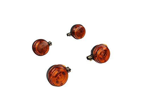 MZA Set: 4 Blinker rund in Schwarz mit orangenem Glas - Simson S50, S51, S70, SR50, SR80, MZ ETZ, TS