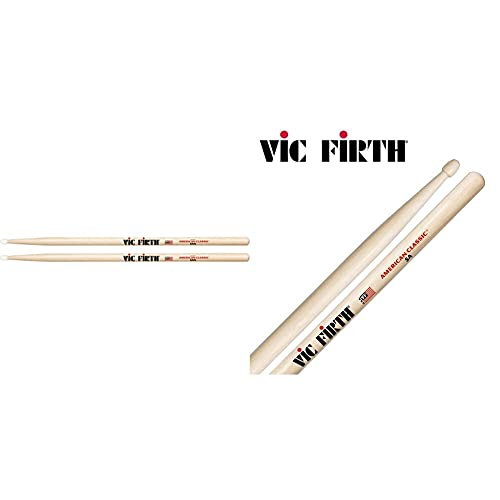 Vic Firth American Classic Series Drumsticks 5An American Hickory Nylon Tip & American Classic Hickory Bacchette 5A Natural