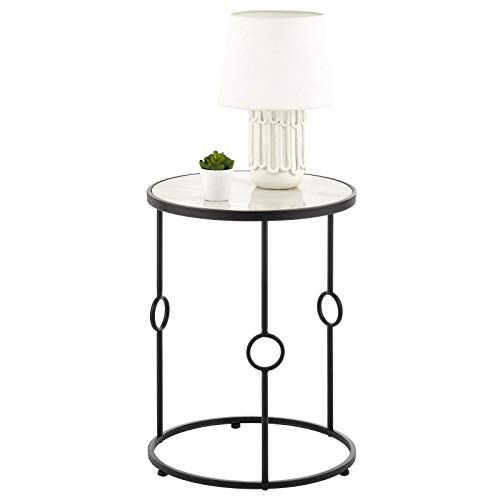 mDesign Round Metal & Marble in-Lay Accent Table - Side/End Table - Decorative Legs, Marble Top - Home Decor Accent Furniture for Living Room, Bedroom - Matte Black/Marble