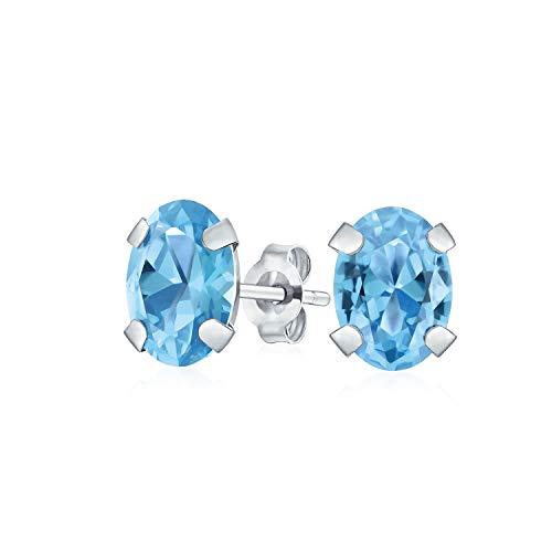 1.6ct piedra preciosa ovalada en forma de topacio azul suizo pendientes para las mujeres real 14K oro blanco diciembre piedra de nacimiento