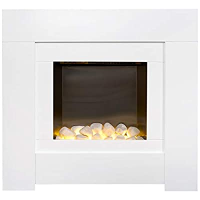 Adam Brooklyn Electric Fireplace Suite in Pure White, 30 Inch