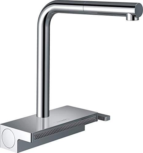 hansgrohe Küchenarmatur Aquno Select M81 (Wasserhahn Küche mit Abtropfsieb, 360° schwenkbar, hoher und ausziehbarer Komfort-Auslauf 250mm, 2 Strahlarten, Standardanschlüsse) Chrom