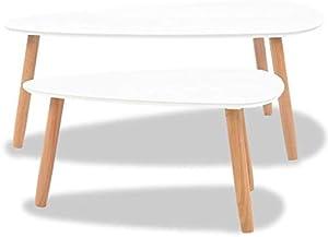 Festnight Set 2 pz Tavolini da caffè Diesign Moderno Elegante in Legno Massello di Pino Biano,Tavolino da Salotto in Legno Design Moderno,Tavolino Laterale in Legno Design Moderno