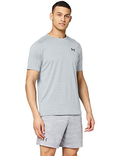 Under Armour UA Tech 2.0 SS Novelty, camiseta para gimnasio, camiseta transpirable hombre, Halo Gray / Black, M