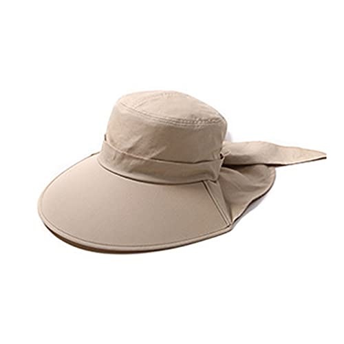 LIHUAN Sombrero De Playa Plegable con Visera Anti-Ultravioleta De Verano para Mujer,Khaki