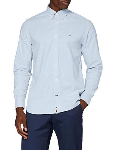 Tommy Hilfiger Flex Refined Oxford Shirt Camisa, Calm Blue, S para Hombre