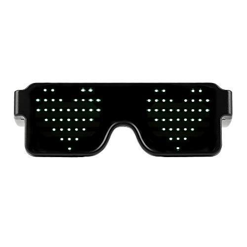 Yuanbbo Gafas LED Brillantes para Fiestas Dinámicas, Gafas con luz Recargable USB, 8 Modos de Animación, Pueden Funcionar 8 Horas, para Halloween Christmas Nightclub Bars Rave Festival