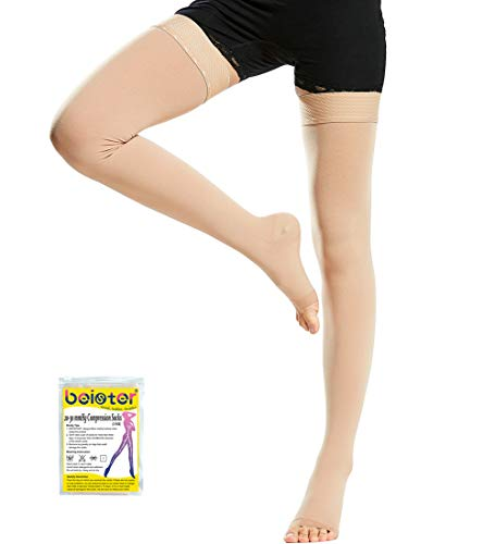 Beister Medical Open Toe Thigh High Compression Stockings with Silicone Band for Women & Men, Firm 20-30 mmHg Graduated Support for Varicose Veins, Edema, Flight, Beige, Small