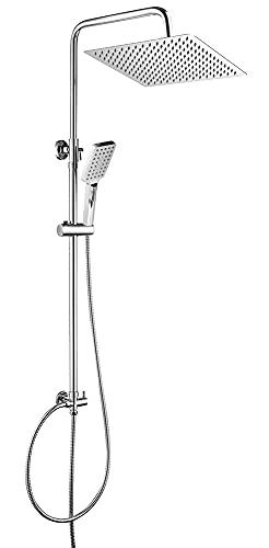 OUNUO Regendusche Duschset Duschsystem Edelstahl mit Kopfbrause 30 x 30 cm Handbrause Höhenverstellbar Duschstange für Bad Eckig