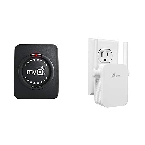 Chamberlain Group myQ Smart Garage Hub Add-on Door Sensor & TP-Link N300 WiFi Extender(TL-WA855RE)-Covers Up to 800 Sq.ft, WiFi Range Extender Supports up to 300Mbps Speed, Single Band 2.4Ghz only