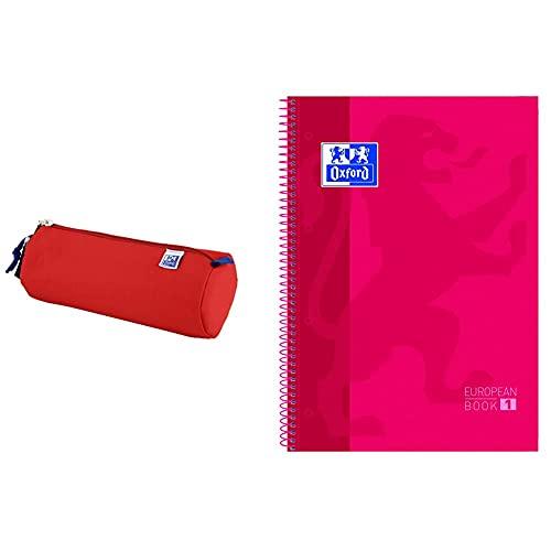 ESTUCHE OXFKIDS REDONDO + Oxford cuaderno Europeanbook 1, microperforado, tapa extradura, espiral, a4+ Rojo
