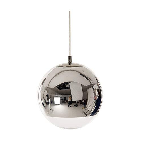 DULG LED Globe Silber galvanisieren Glaspendelleuchten Leuchten Moderne Edison Chrom-Spiegel-Ball-Decken-Lampen-Schatten Schlafzimmer Balkon Wohn-Esszimmer Bar Cafe Single Head Hängelampe E27 (30cm)